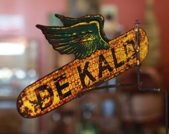 Vintage Dekalb Flying Corn Double Sided Weather Vane