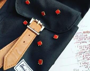 Maple Leaf Gold Enamel Lapel Pin Canada