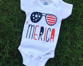 Merica red and blue body suit