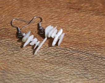 Shell-Chip Earrings, Unique Handmade