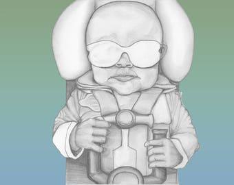 Baby Portrait / Pilot / Original Artwork / Fine Arts / Print / Poster / Painting / Drawing