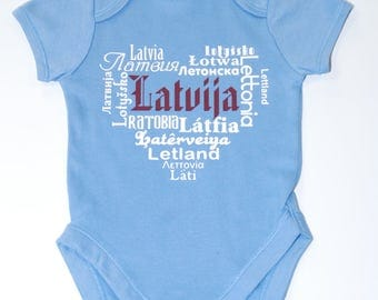Latvian Bodysuit - Latvia / Latvian onesie / 3-6m