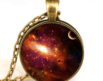 Solar System Pendant with Chain (Bronze Backing)