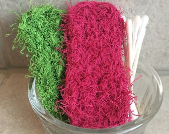 Set of 2 Face and Body Scrubby, Exfoliating scrubbies