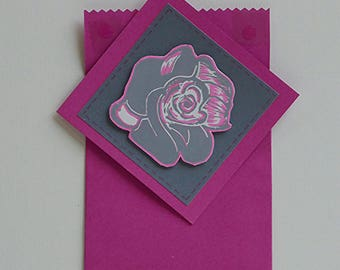 Single card 'rose' pink and grey.