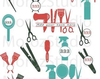 75 % OFF, Hairdresser svg, barber salon vector, hairdresser monogram svg files Monogram Frame Cut Files Svg, Png, Dxf, Silhouette SVG File