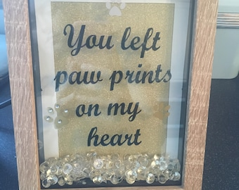 You left paw prints on me heart frame