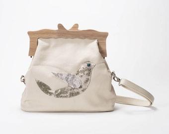 House Bird Dove Clutch, wooden frame