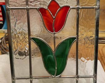 Red Tulip Stained Glass Panel