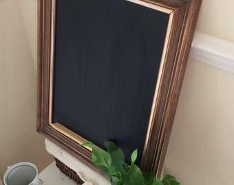 Rustic dark wooden framed kitchen chalkboard/blackboard