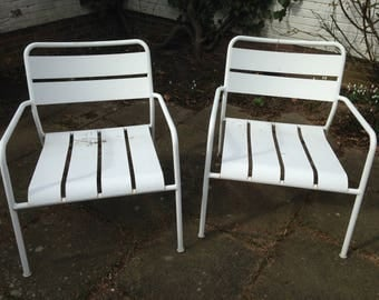 Chair set 2, old IKEA Chairs metal, garden chair, white, shabby, Shabbychic, vintage
