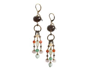 Caramelle Earrings Multicolore Giallo, Italian Jewels, Semiprecious Stones and Brass