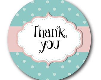 Thank you stickers - shabby chic style, green and pink polka dots - 30mm stickers