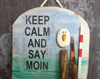 Keep calm and say hello - shield with Seagull Pebble stone