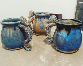 Handmade Ceramic Seahorse Handle Mug