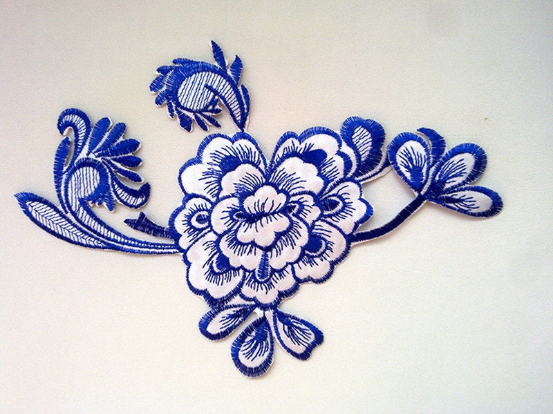 Pcs royal blue flowers embroidery patches dark