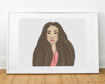 Fashion illustration, fashion, print, poster, poster, illustration, portrait