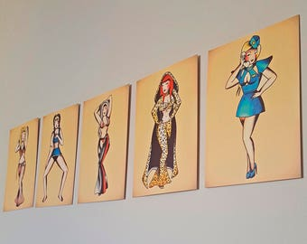 Set of 5 - Sailor Jerry Tattoo Pop Music Icons -  A6 Postcards