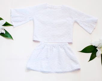 Organic White Scallop Lace Eyelet Outfit - Toddler