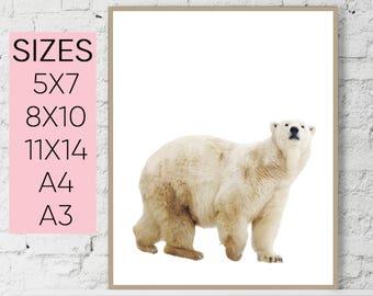 Bear print, nursery print, animal print, bear nursery art, bear wall decor, woodland print, bear download, white bear print, bear wall art