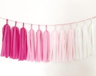Pink Tassel Garland Girl 1 st Birthday Bridal Baby Shower Tissue Tassel Valentines Day Ombre Balloon Garland Baby Nursery Room Wall Garland