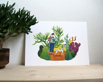 Print // adventure with dalmatian and squirrel // A4 reproduction of original watercolor illustration // childrens art & adults ;-)