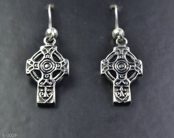 Celtic Cross Sterling Silver Earrings