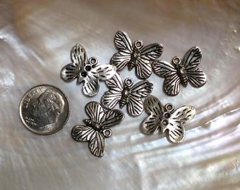 8 pcs Butterfly Charm, Pewter, 18x14mm