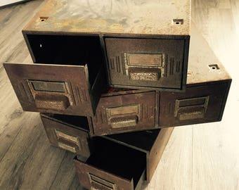 Industrial Vintage Metal Storage Drawers / Filing Cabinet / Lockers
