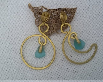 brass earrings with glass polished by the sea, Sun and moon model