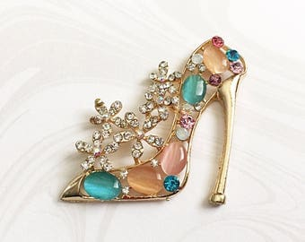 2 High Heel Shoes, Shoe Embellishment, Gold Shoe Cabochon, Rhinestone Shoe,  43mm x 42mm, GTP009