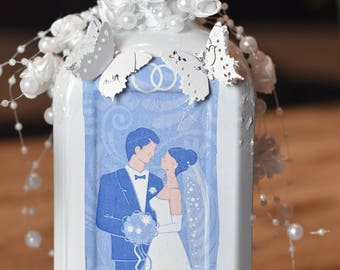 Wedding gift, wedding, bottle, empty bottle, decorated bottle
