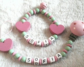 Pacifier & toy with your name heart