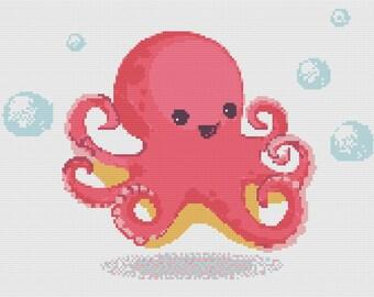 Cute Octopus sea creature cross-stitch Pattern