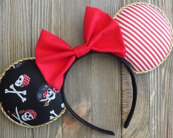 Pirates of the Caribbean Ears, Pirate Minnie Ears , Pirate Ears , Pirate Disney , Disney Pirate Ears, Minnie Mouse Ears, Mickey Mouse Ears