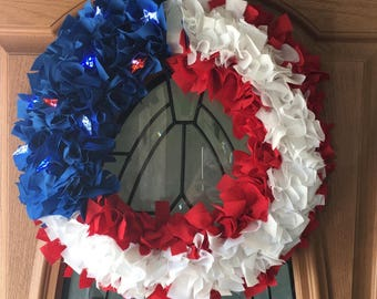 Light Up Red White & Blue Wreath