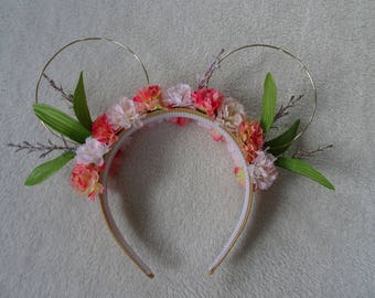 Coral, gold, and white flower mouse ears