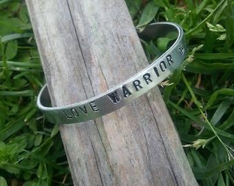 Custom, handstamped, aluminum cuff bracelet