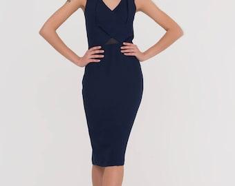 Black Dress/Knee Length Sleeveless Party Dress/Midi Black Short Dress