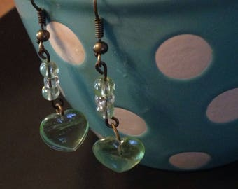 Clear Green Glass Beaded Heart Earrings With Clear Seed Bead