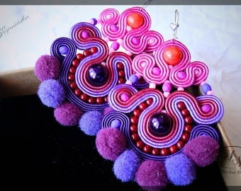 Fluffy purple earrings Unique earrings Sweet and charm soutache jewel Pompoms fluffy earrings