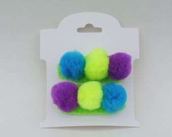 Pompoms on felt covered snap clips hair clips accessories barrettes fun festive