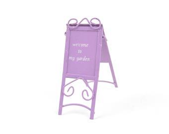 Lavender Welcome To My Garden Sign - Metal - Miniature Dollhouse Fairy Garden