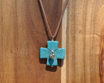 FREE SHIPPING Genuine Turquoise Cross necklace with Iridescent bead and silver heart