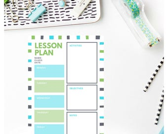 Lesson Plan Template - Blue/Green