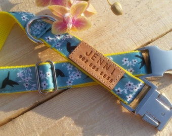 Birds dog collar, girly dog collar, girl dog collar, hummingbirds, blue collar, yellow, birds, summer collar, personalized dog collar