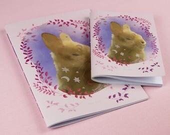 Rabbit Notebook / Girls notebook / Animal Notebook / Animal Notepad / Planner / Cute Notebook / Pink Notebook / Handmade Notebook.