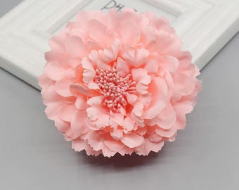 2 Peach Peony Big Flower Hair Clips Brooches 10cm