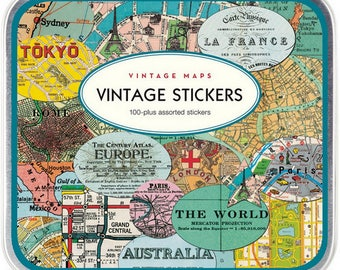 Travel Stickers - Vintage Maps by Cavallini & Co - Worldwide Destinations of Various Colors, Shapes, Sizes - over 100 Stickers in Tin Box