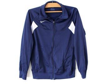 90's Nike Track Jacket, Blue Nike Windbreaker, Nike Tracksuit,  Vintage Nike Sweatshirt, Rare Nike Sweater Top, Nike Sport Jacket Size L